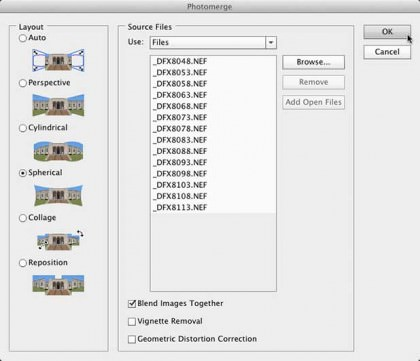 Photoshop's Photomerge Dialog Box