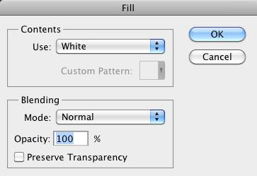 The Fill Dialog Box with White color and Normal Blend Mode selected