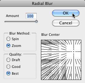 The Radial Blur Filter Dialog Box
