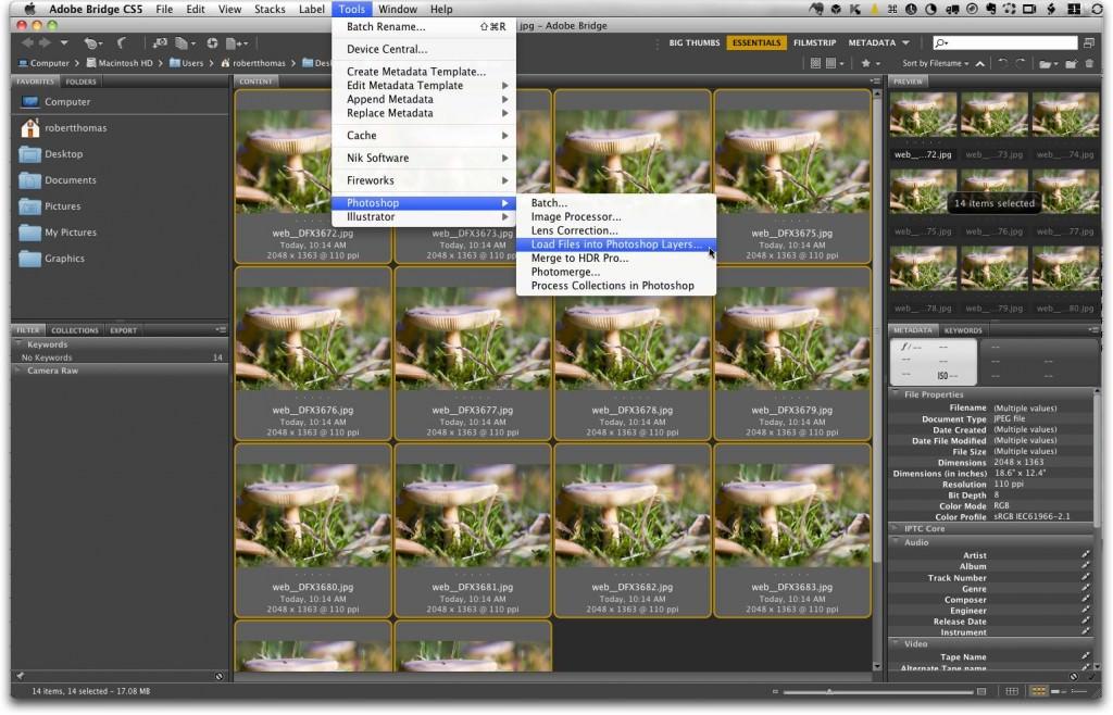 Adobe Bridge, Load Files into Photoshop Layers