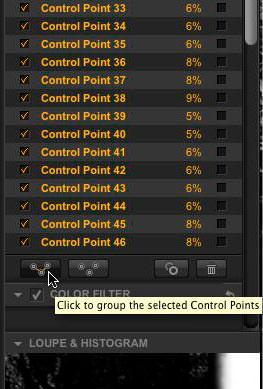 The Click to group the selected Control Points icon