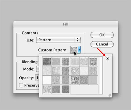 """Clicking on the """"Custom Pattern"""" icon (Red Arrow: additional patterns)"""