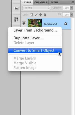 """Selecting """"Convert to Smart Object"""""""