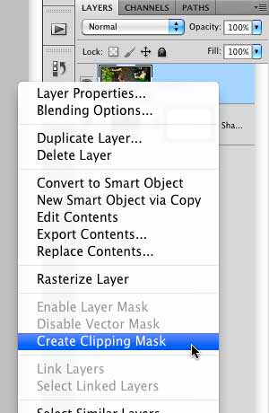 """Selecting the """"Create Clipping Mask"""" option"""