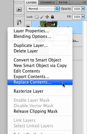 """Selecting the """"Replace Contents"""" option"""
