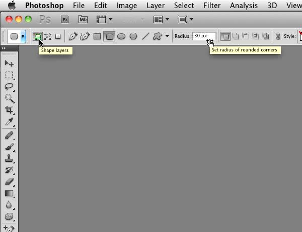 Setting the Rounded Rectangle (Shape Layer) tool options