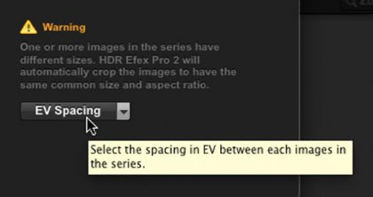 HDR Efex Pro 2 Auto Crop and Resize, and EV Selection